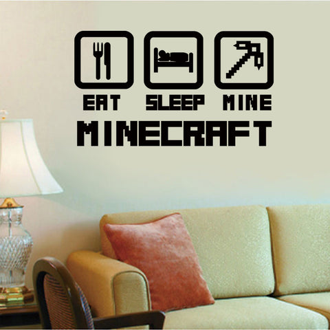 Eat, Sleep, Mine Wall Sticker - Gamer Treasures