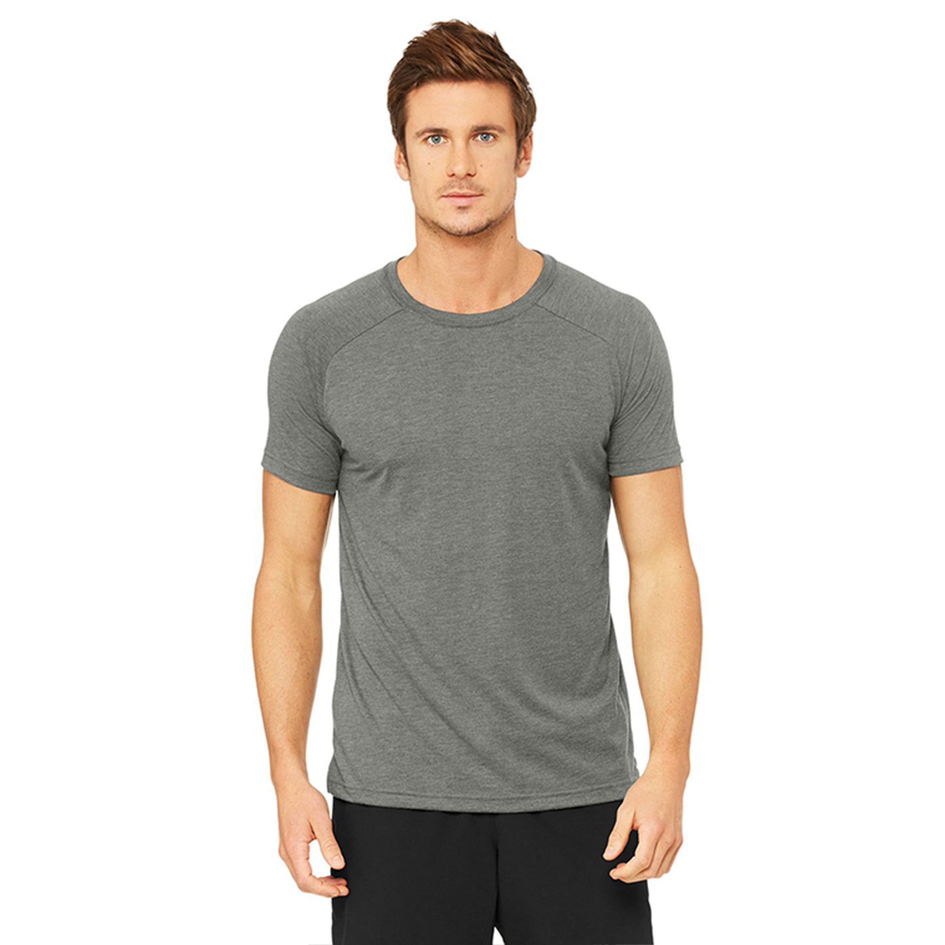 Alo Yoga Mens Triumph Crew Neck Tee in Grey Triblend