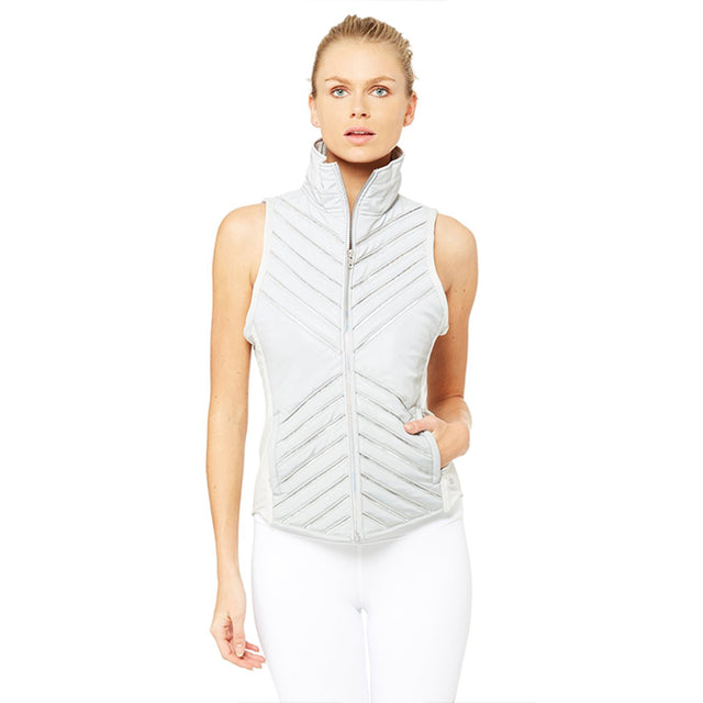 Alo Yoga Reflective Puffer Vest in Silver ON SALE