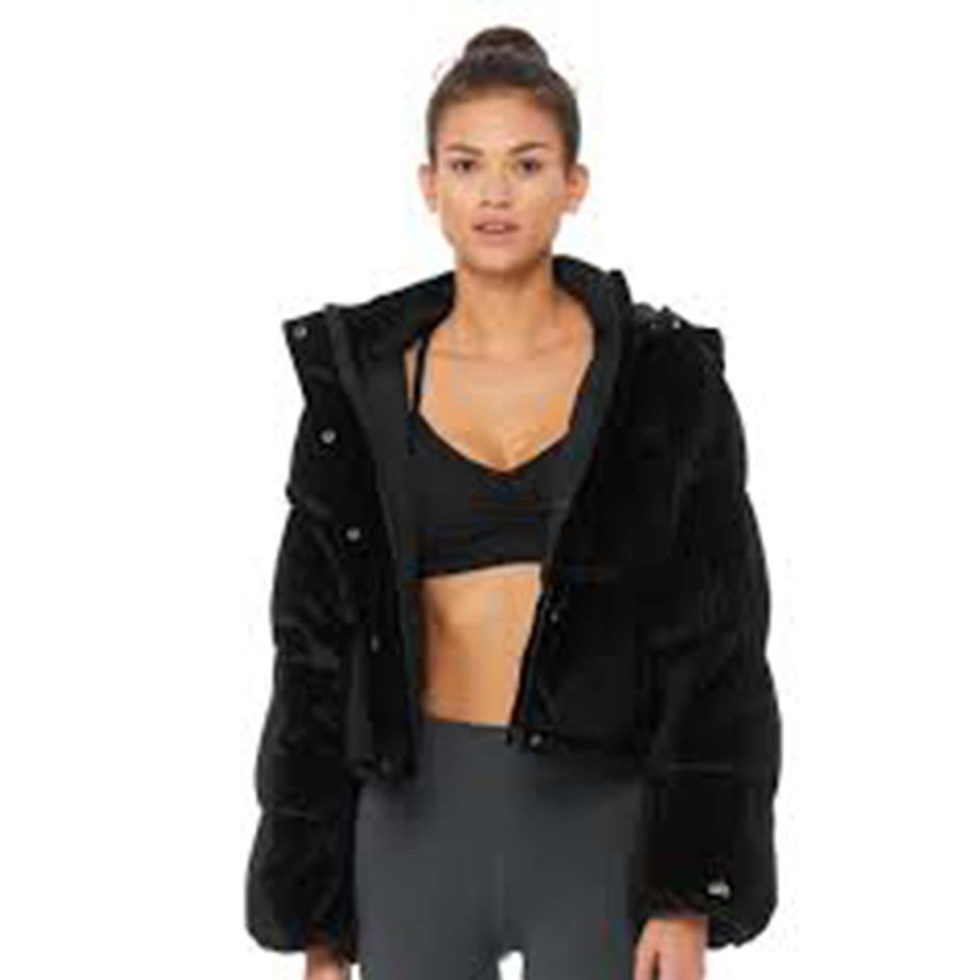 Alo Yoga Velvet Puffer Jacket in Black