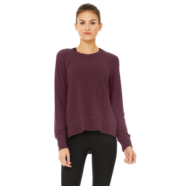 Alo Yoga Glimpse Long Sleeve in Black Plum ONE LEFT