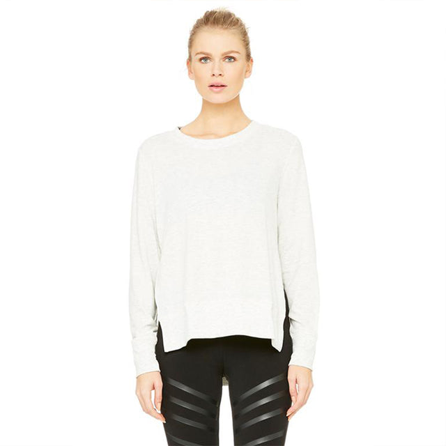 Alo Yoga Glimpse Long Sleeve in White Heather
