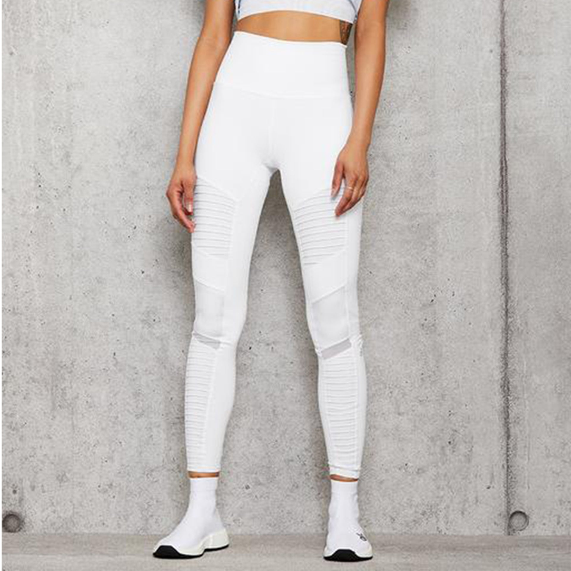 Alo Yoga High Waist Moto 7/8 Legging in White