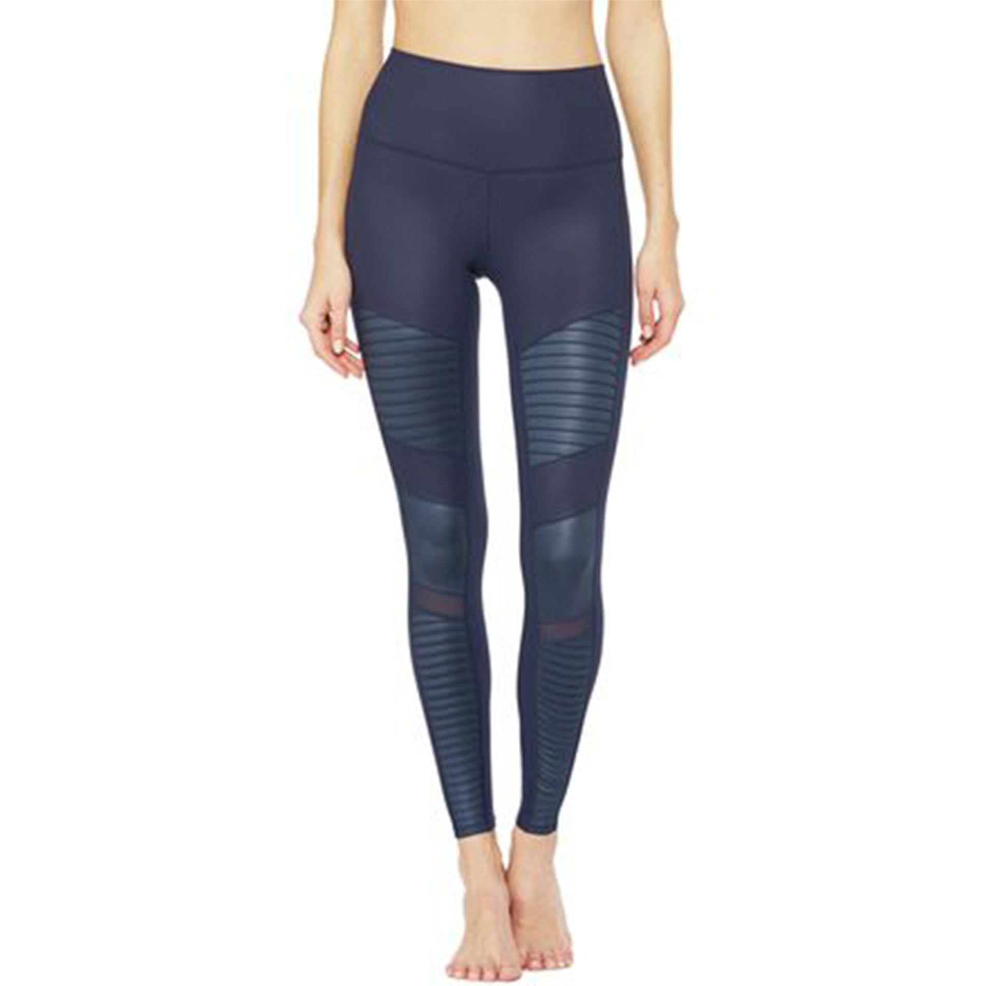 Alo Yoga High Waist Moto Legging in Navy/Navy Gloss