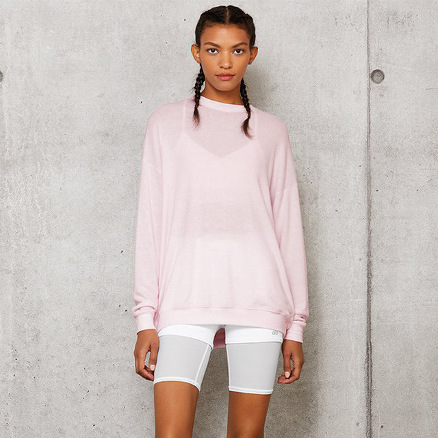 Alo Yoga Soho Pullover in Soft Pink