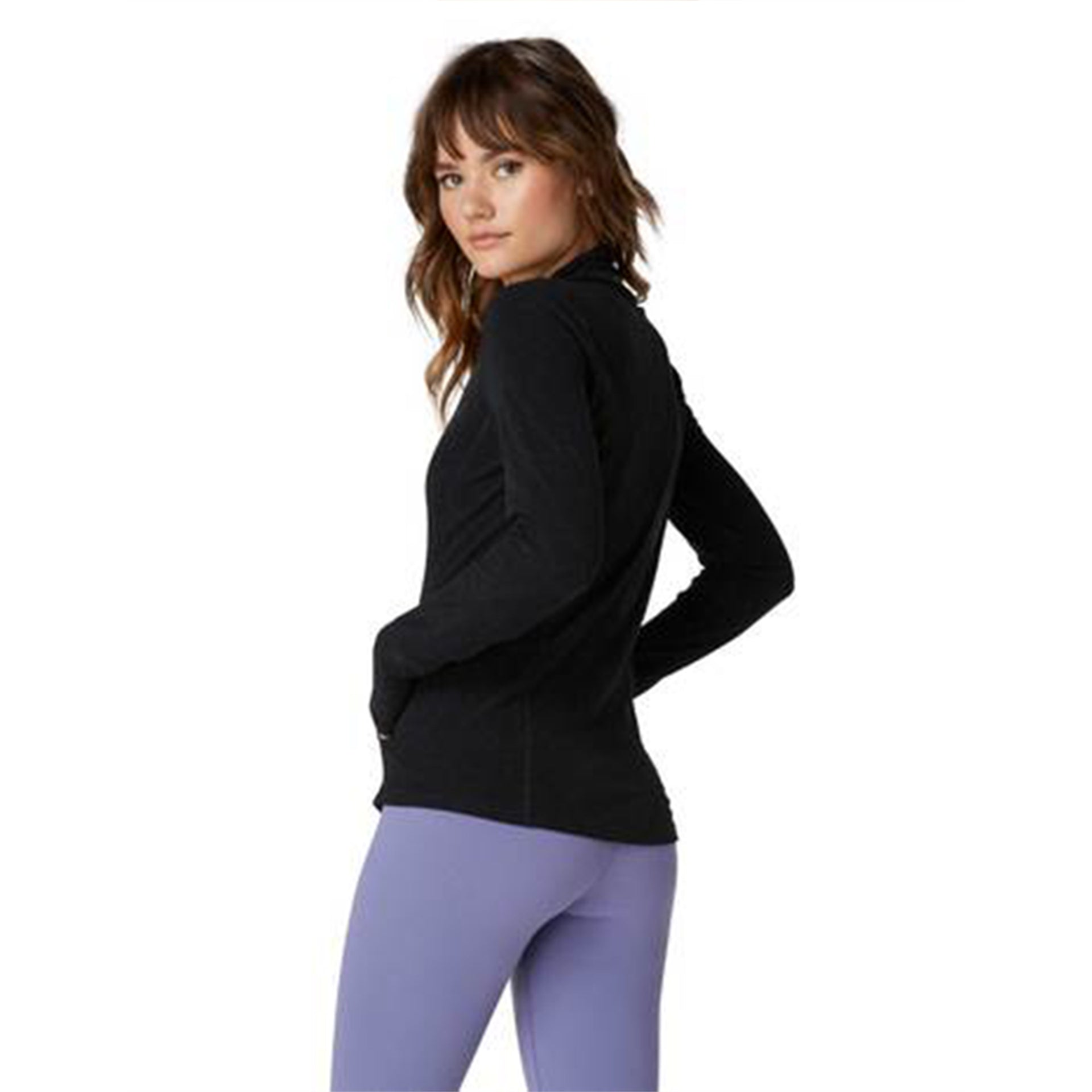 Beyond Yoga Fitted Mock Neck Jacket in Black