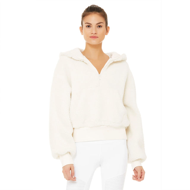Alo Yoga Streetside Half Zip Hoodie in Pristine ONE LEFT