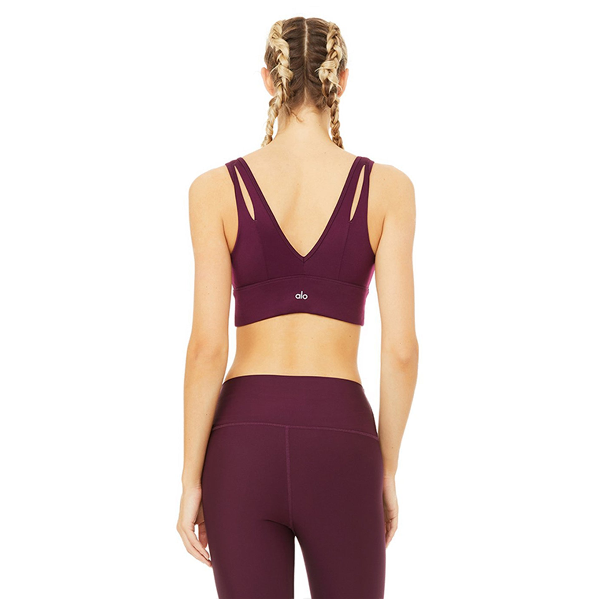 Alo Yoga United Long Bra in Black Plum