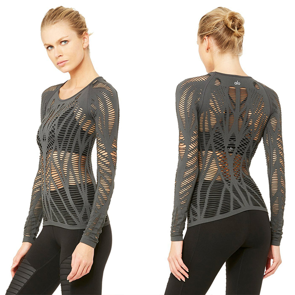 Alo Yoga Wanderer Long Sleeve in Anthracite SOLD OUT