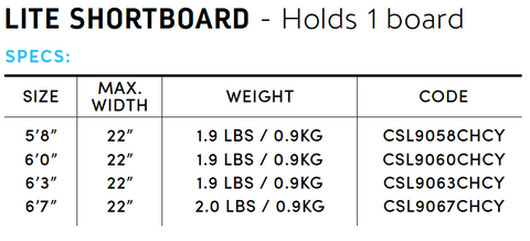 Shortboard Lite Bag Specs