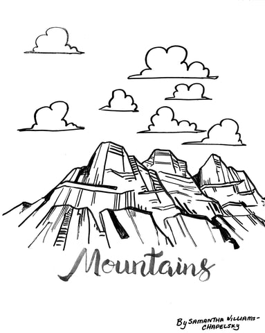 Mountains Coloring Sheet