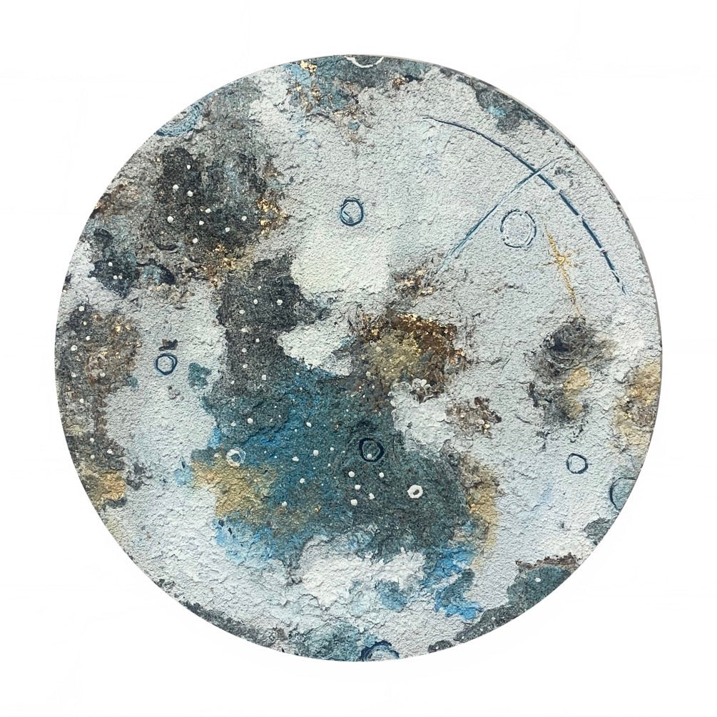 Lunar Collection - Winter Moon in Gold Mica Flakes and Blue 12""