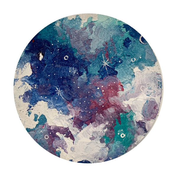 Lunar Collection - Winter Moon in teal and pink 12""