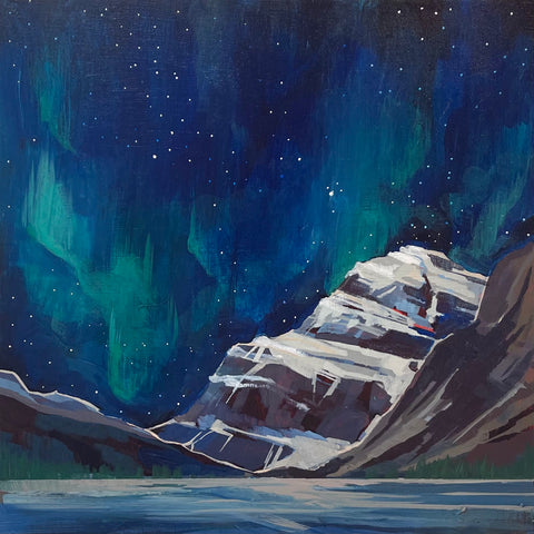 "Mount Edith Cavell with the Northern Lights 12"" x 12"""