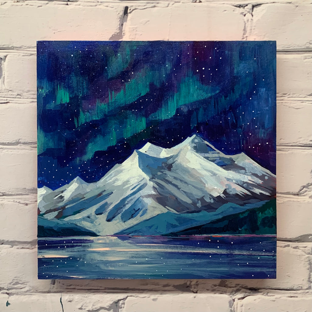 "Maligne Lake and the Northern Lights 12"" x 12"""