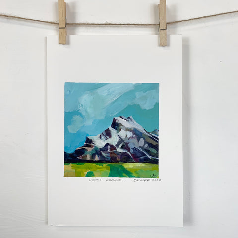 Acrylic Sketch on Paper -  Mount Rundle, Banff