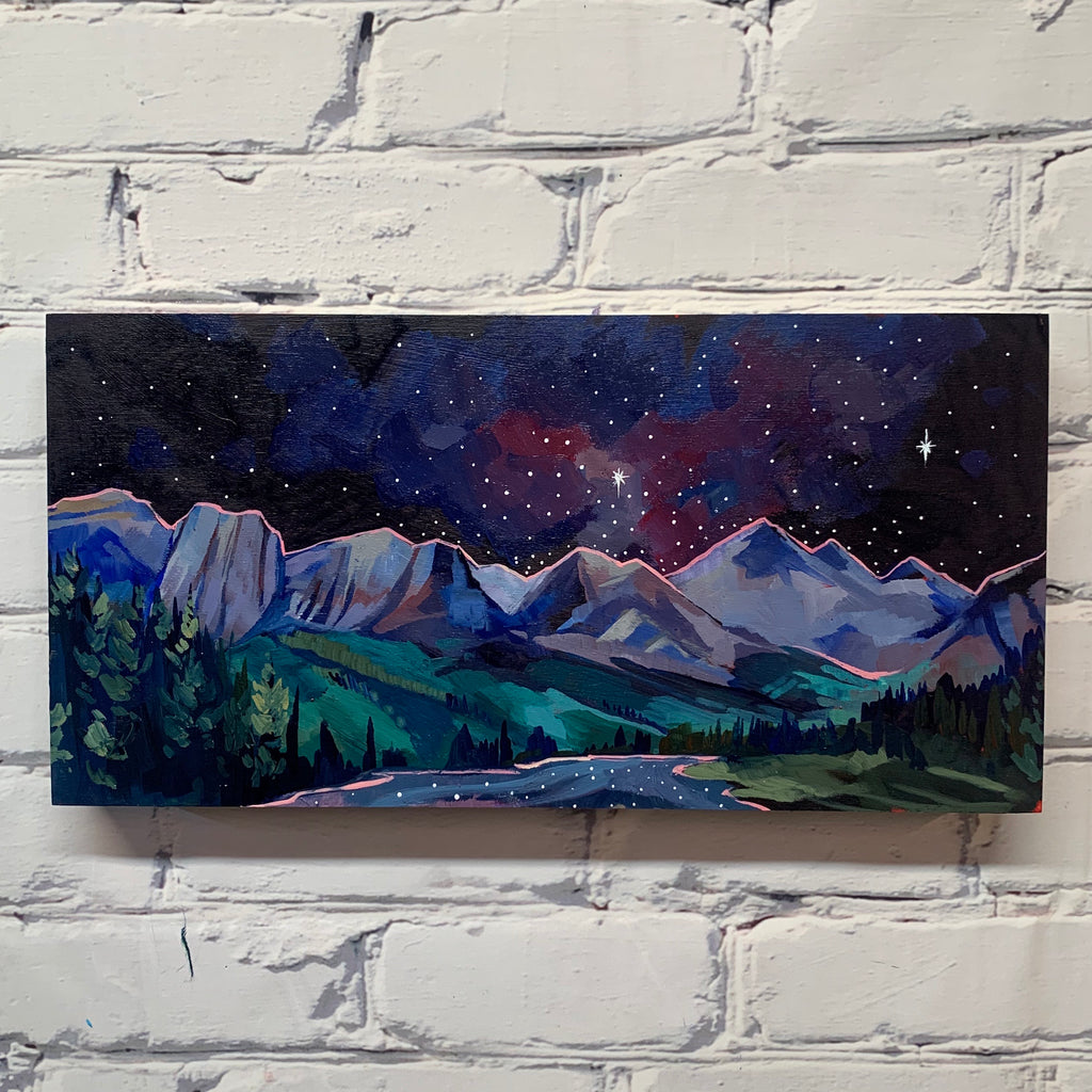 "Policeman's Creek night sky Canmore 8"" x 16"""