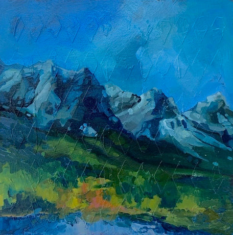 Original Oil Painting - Canmore Mountain Range