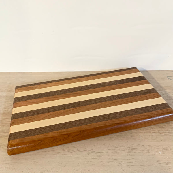 Walnut, Cherry and Maple Striped Charcuterie Board