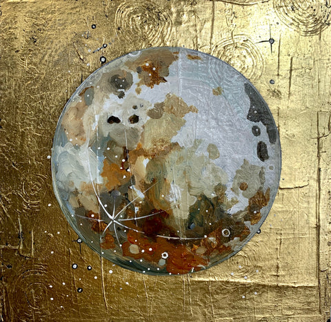 "Lunar Collection - Gilded Moon 12"" x 12"""
