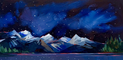 "Maligne lake Night Sky 8"" x 16"""