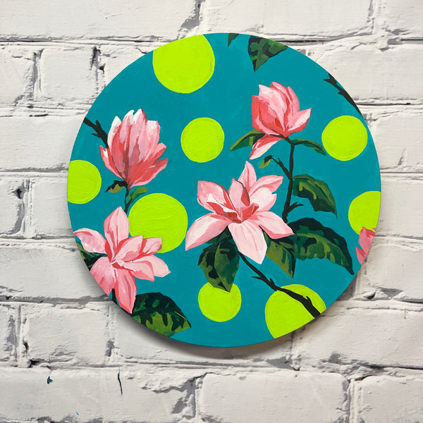 "Floral pop art 12"" diameter"