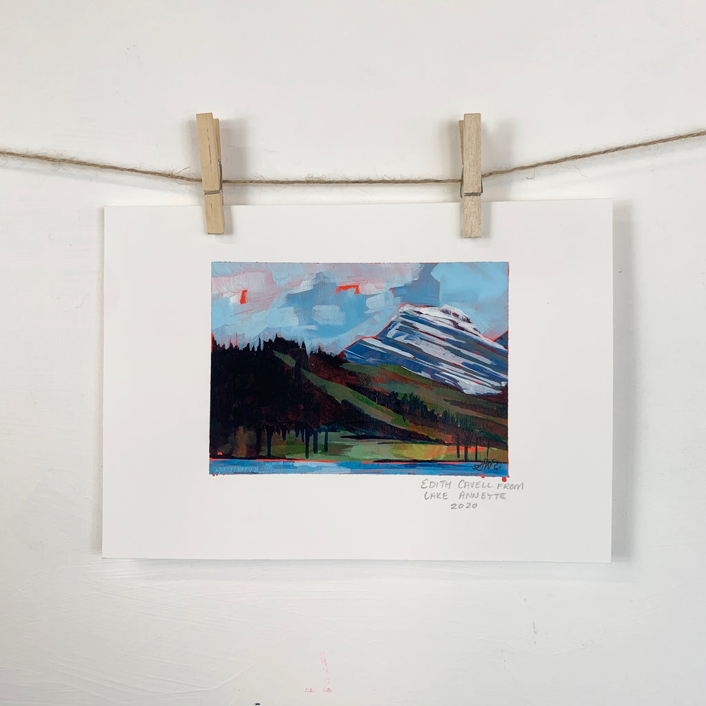 Acrylic Sketch on Paper - Mount Edith Cavell Jasper