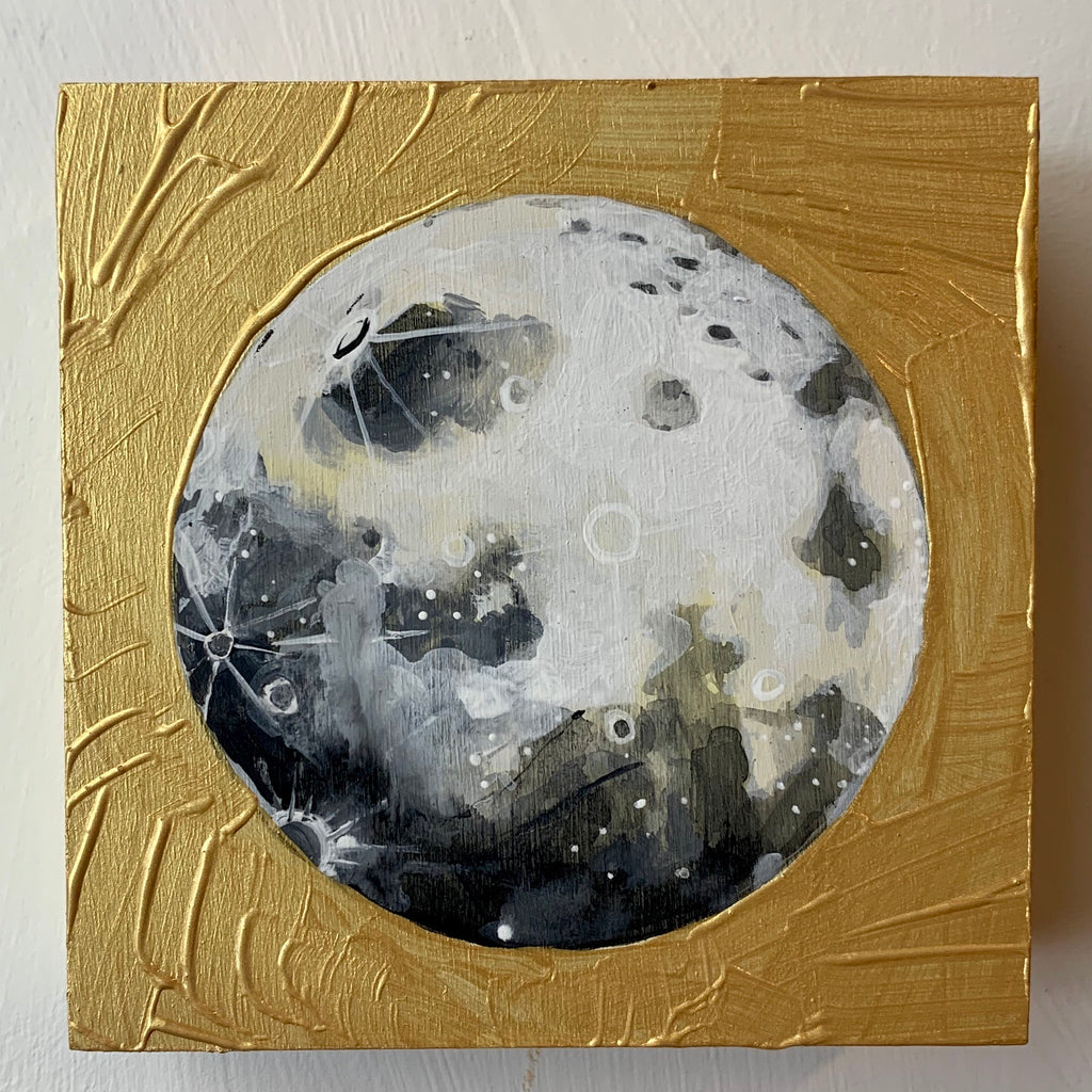 "Lunar Collection - Moon in gold 5"" x 5"""
