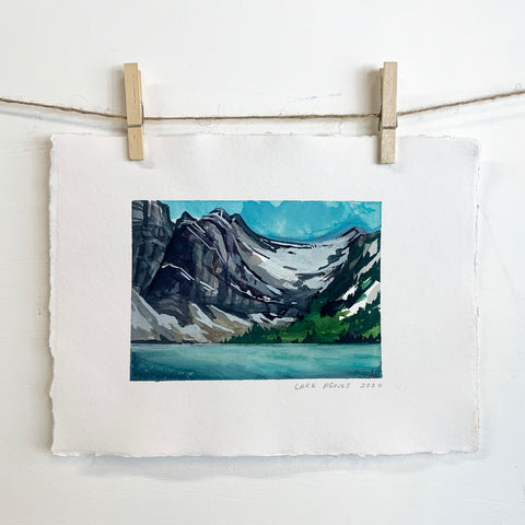 Lake Agnes - Watercolor on handmade paper