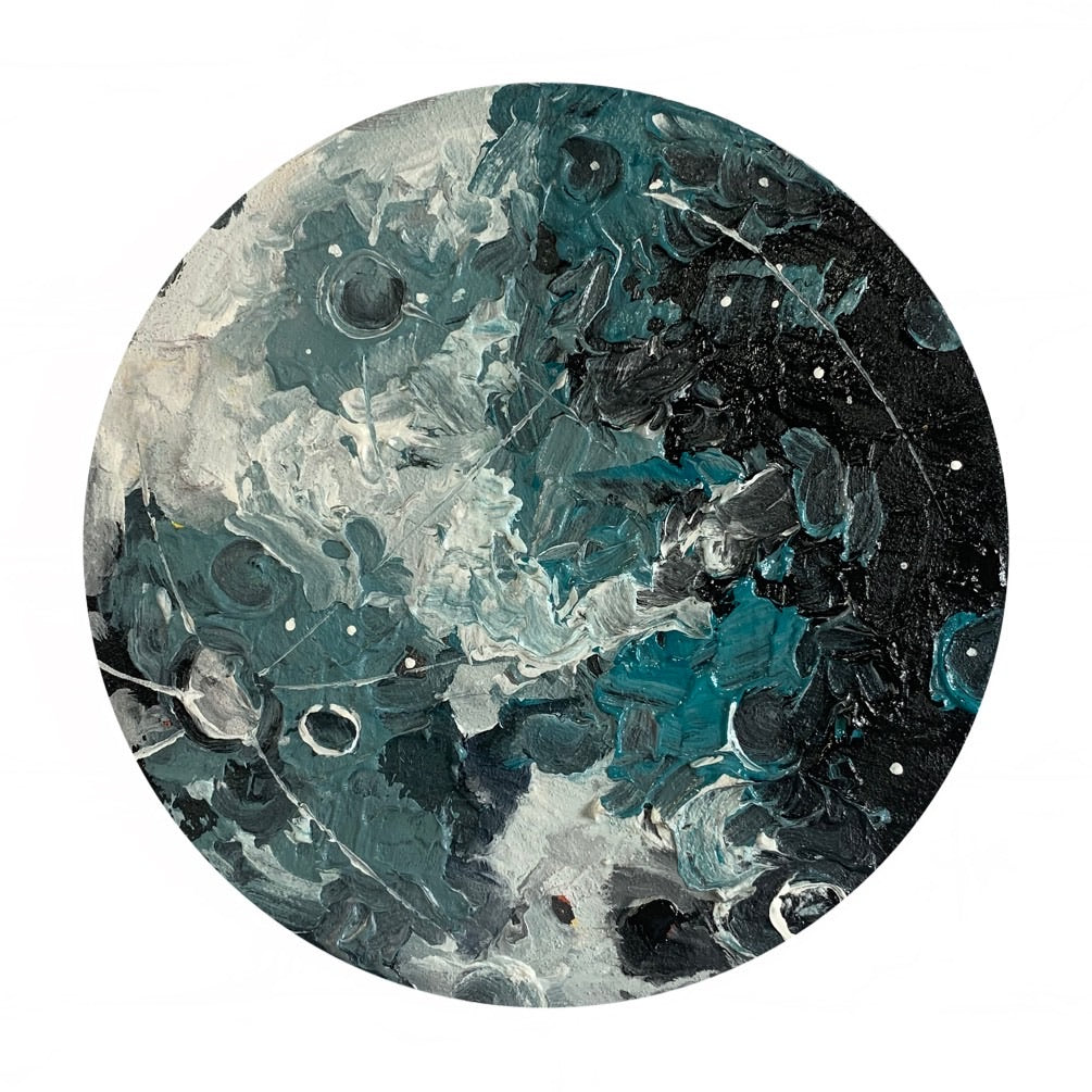 Lunar Collection - Cobalt Teal Gibbous Moon 10""