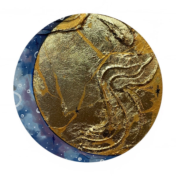 Lunar Collection - Shattered in gold Crescent Moon 8""