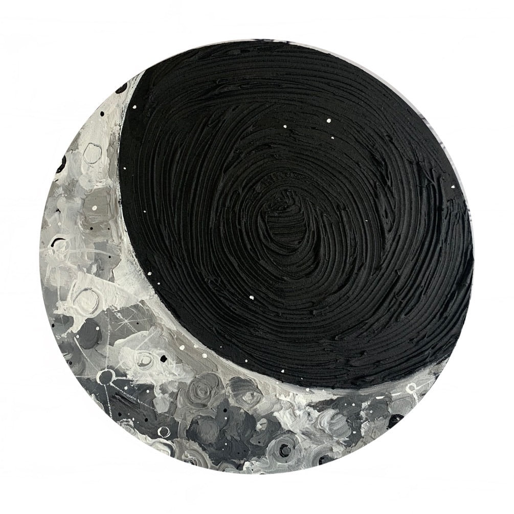 Lunar Collection - Black and White Crescent 12""