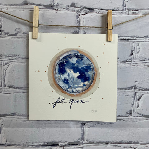 "The Lunar Collection - Original Watercolor 8"" x 8"""