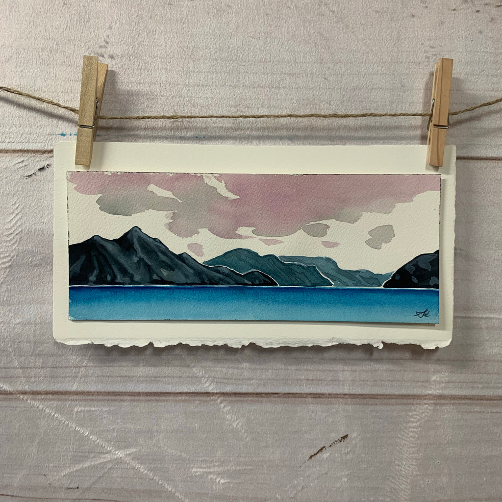 "Original Watercolor - whistler skyline 4"" x 10"""