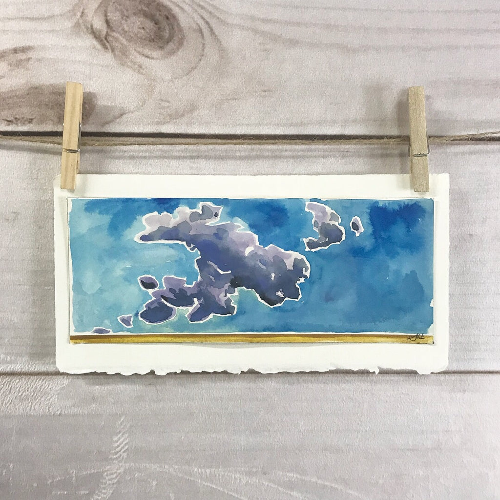 Original Watercolor - Prairie Clouds