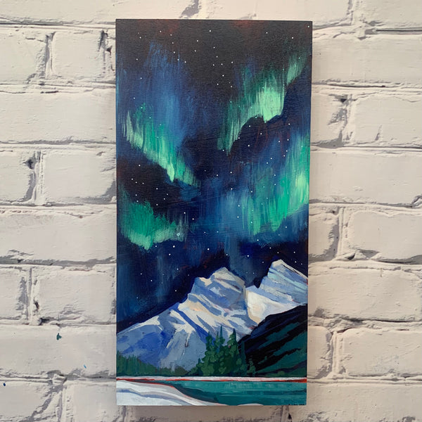 "Two Sisters and the Northern Lights 8"" x 16"""