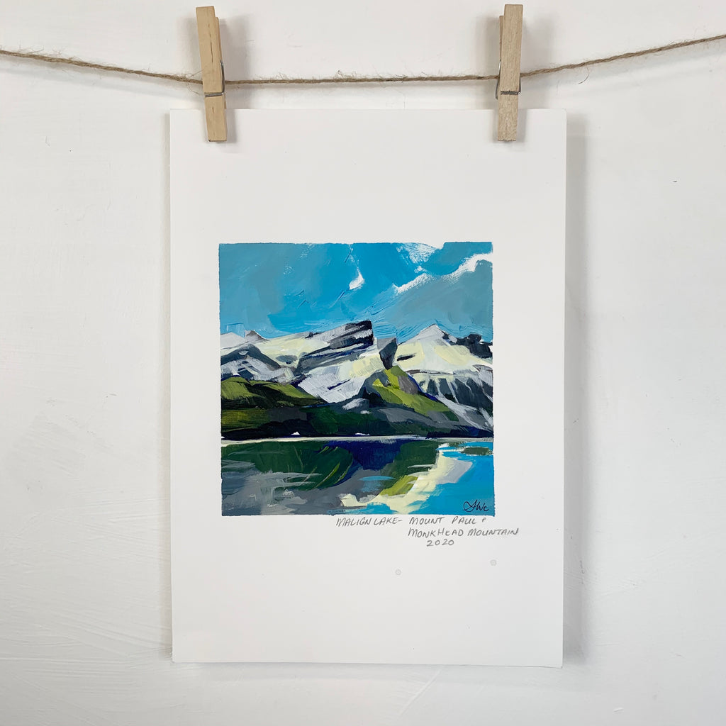 Acrylic Sketch on Paper -  Maligne Lake