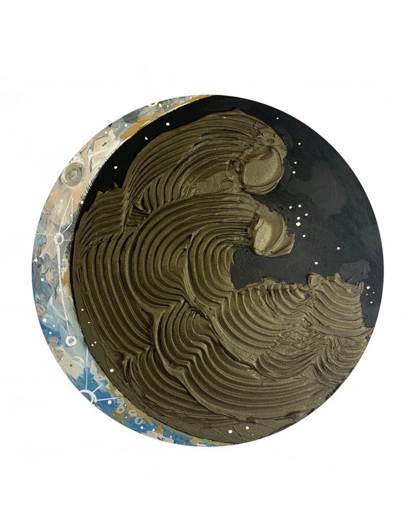 Lunar Collection : Bronze and Blue Crescent moon 12""