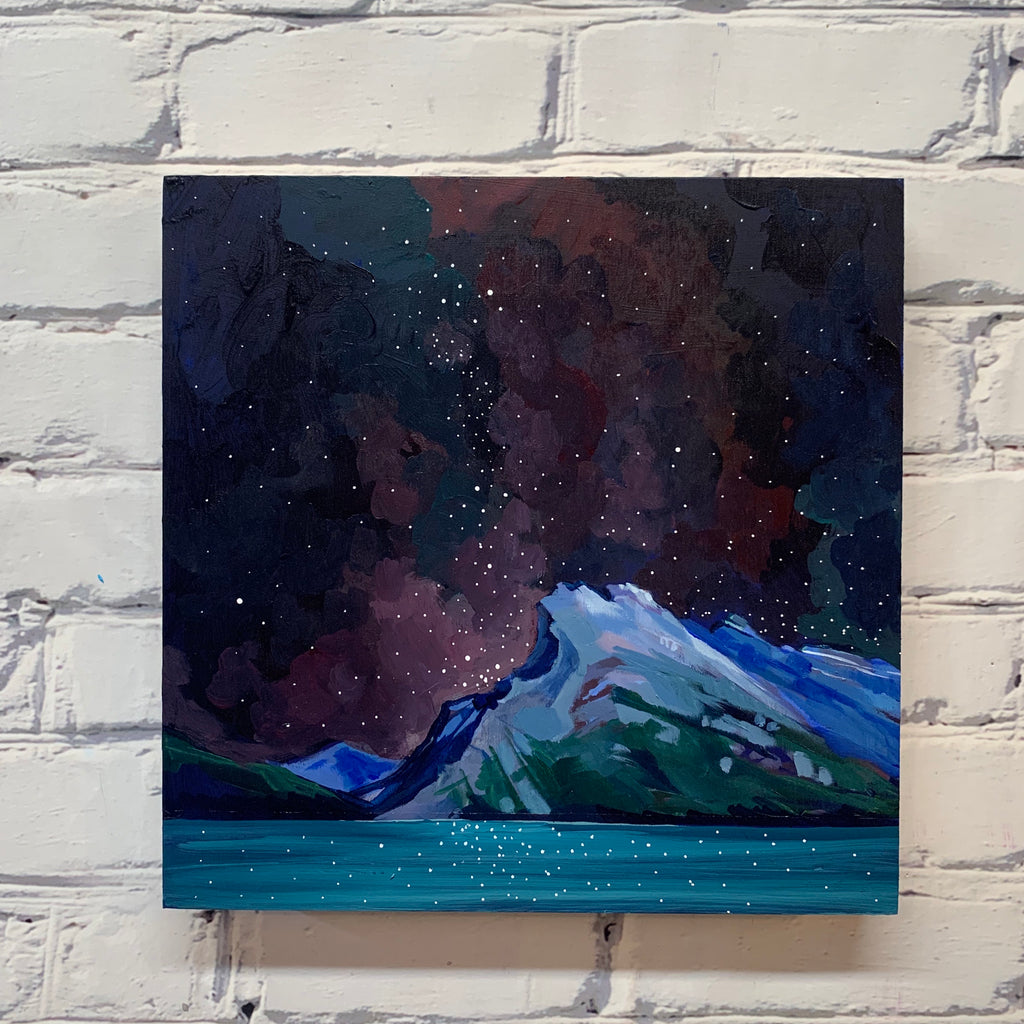 "Mount Rundle in the dark 12"" x 12"""