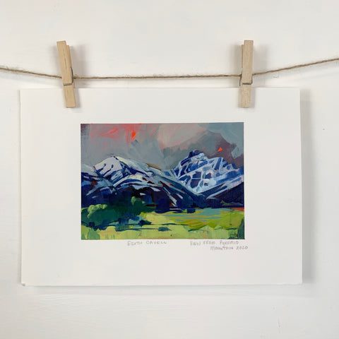 Acrylic Sketch on Paper - Mount Edith Cavell from pyramid lake Jasper