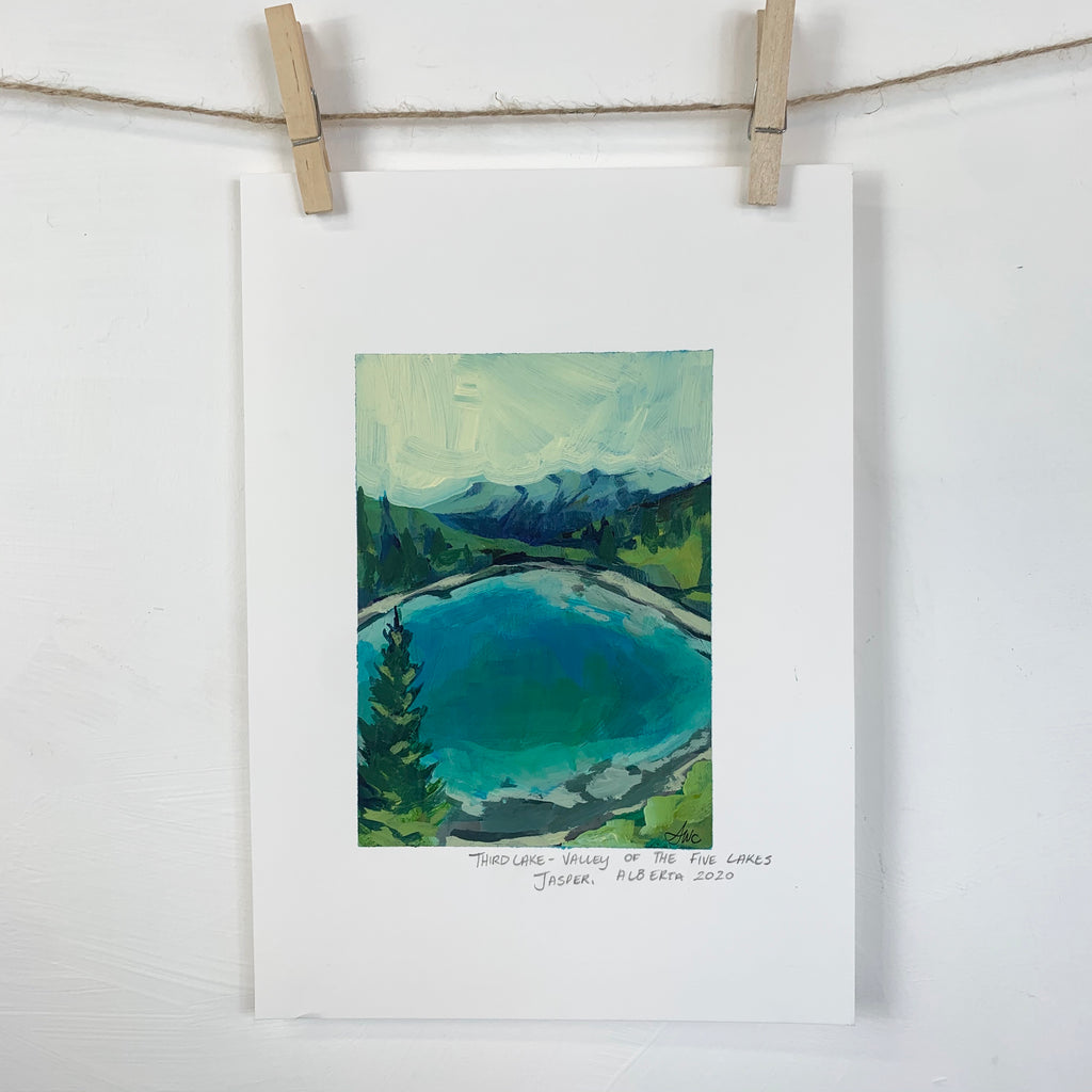 Acrylic Sketch on Paper - Valley of five lakes Jasper