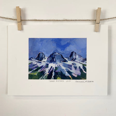 Acrylic Sketch on Paper -  Three Sisters, Canmore