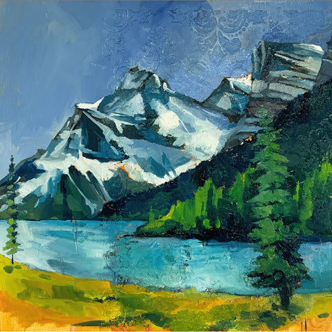 "Original Mountain Landscape - 12"" Maligne Lake"