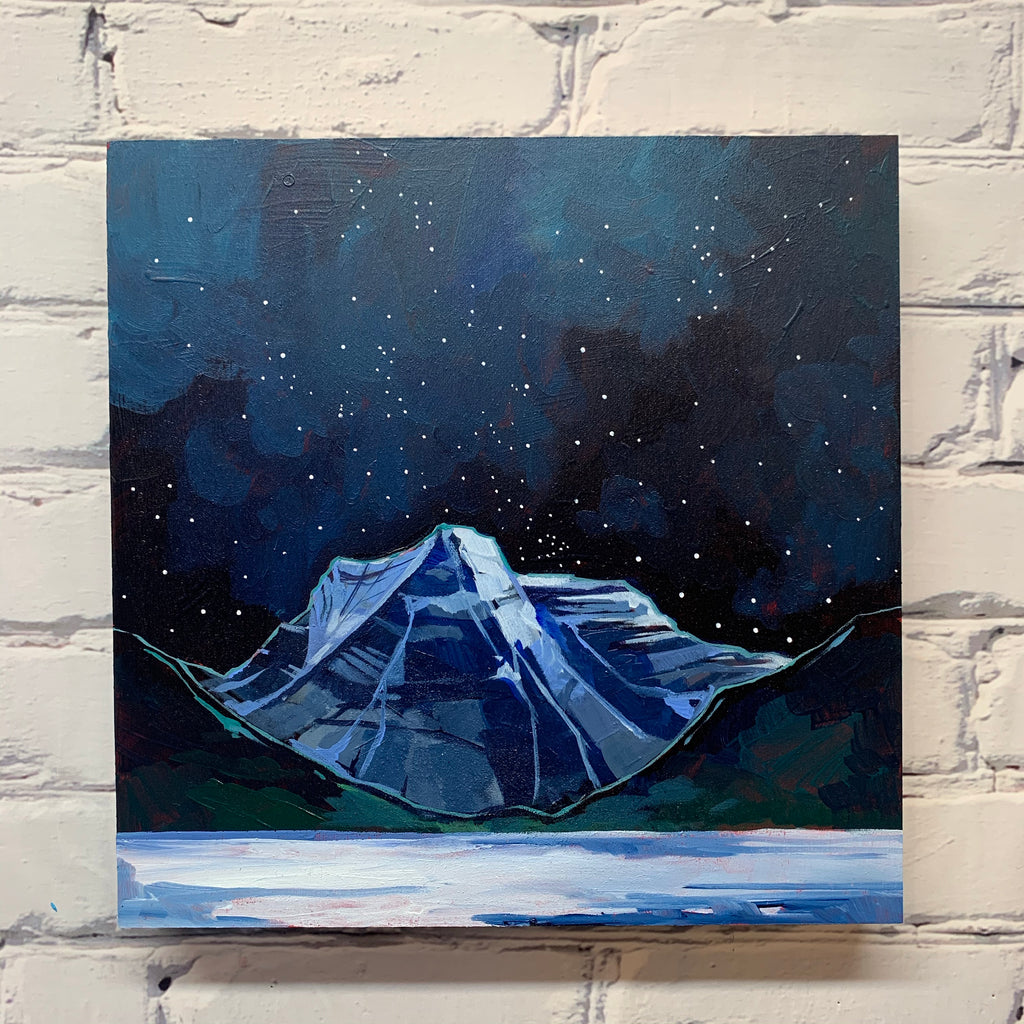 "Snowy Night by Mount Rundle 12"" x 12"""