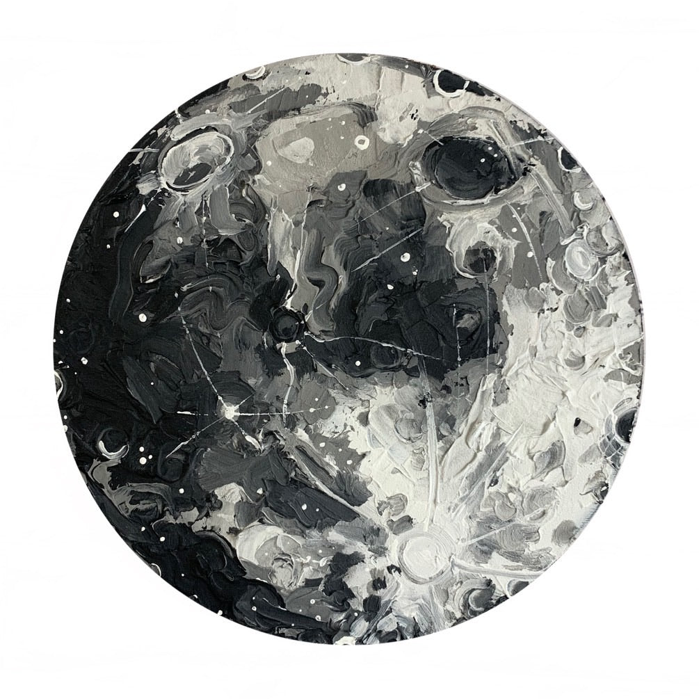 Lunar Collection - Black and White Gibbous Moon 12""