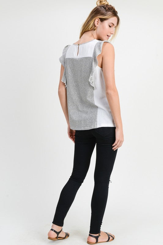 Charcoal Flutter Sleeve Top