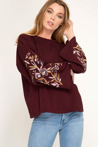 Embroidered Wine Sweater