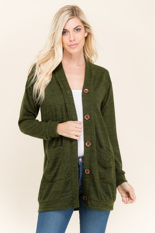 Olive Button Down Cardigan
