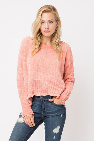 Salmon Chenille Sweater