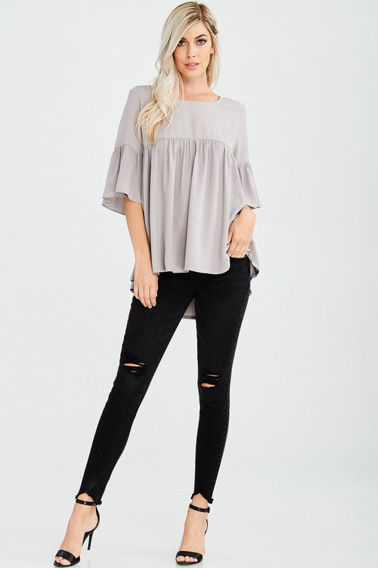 Stone Babydoll Top